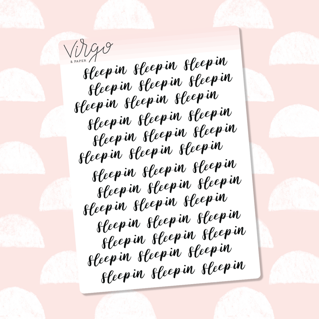 Sleep In Hand Lettered Label Planner Stickers
