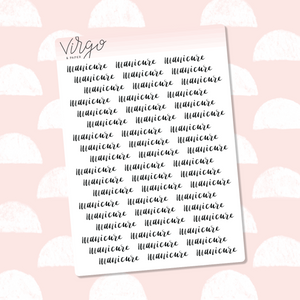 Manicure Hand Lettered Label Planner Stickers