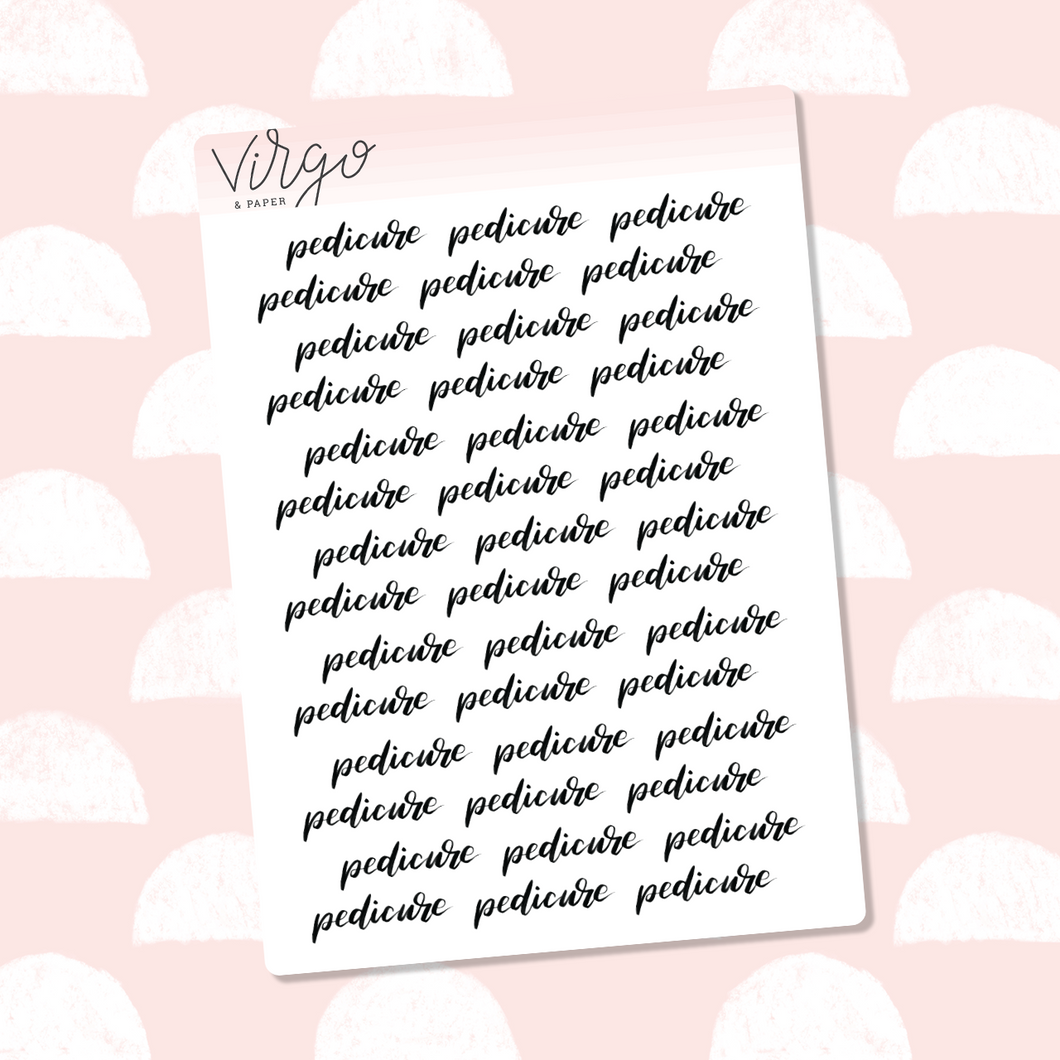 Pedicure Hand Lettered Label Planner Stickers
