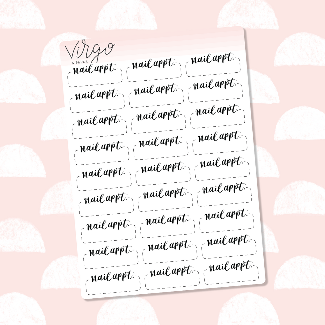 Nail Appointment Hand Lettered Label Planner Stickers
