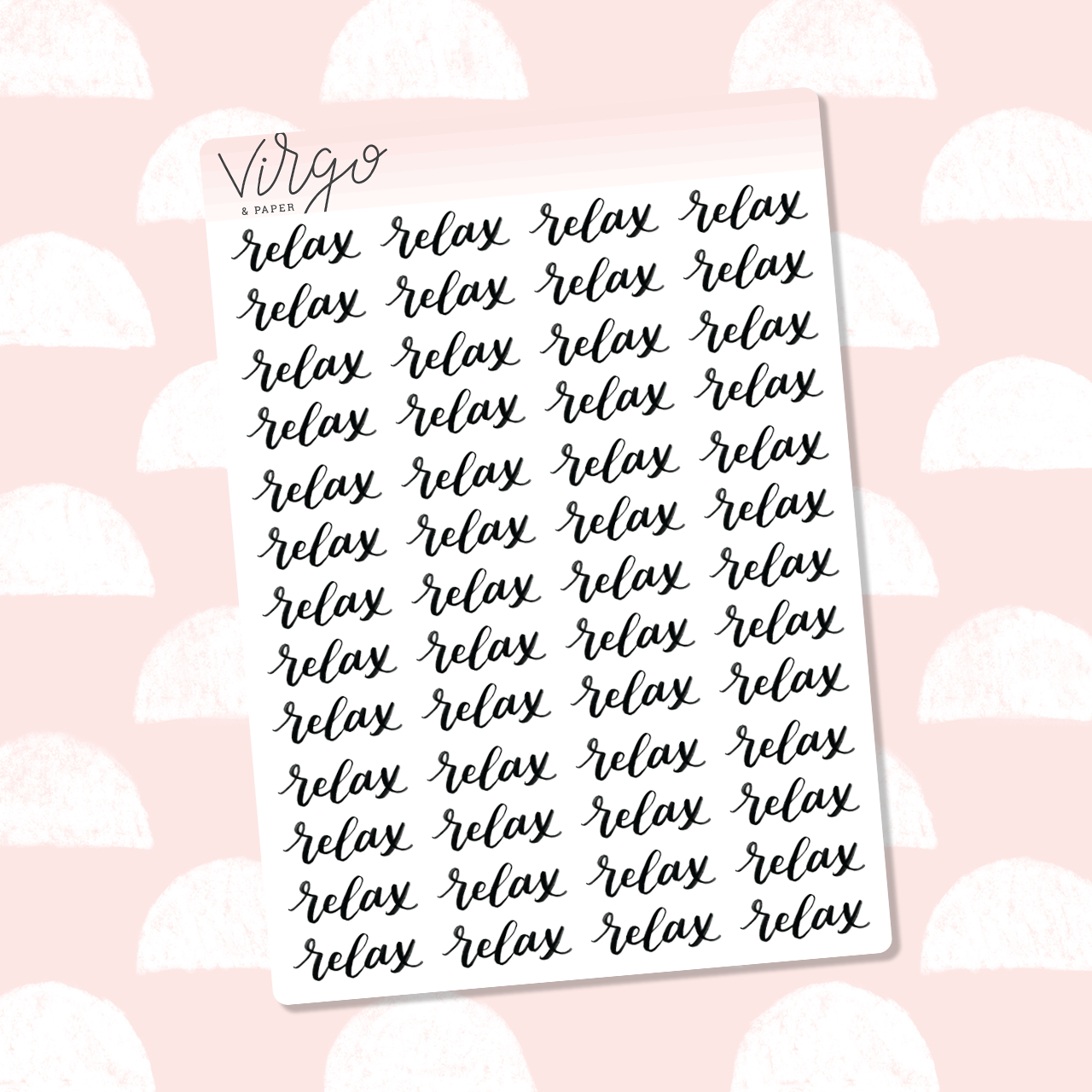Relax Hand Lettered Label Planner Stickers