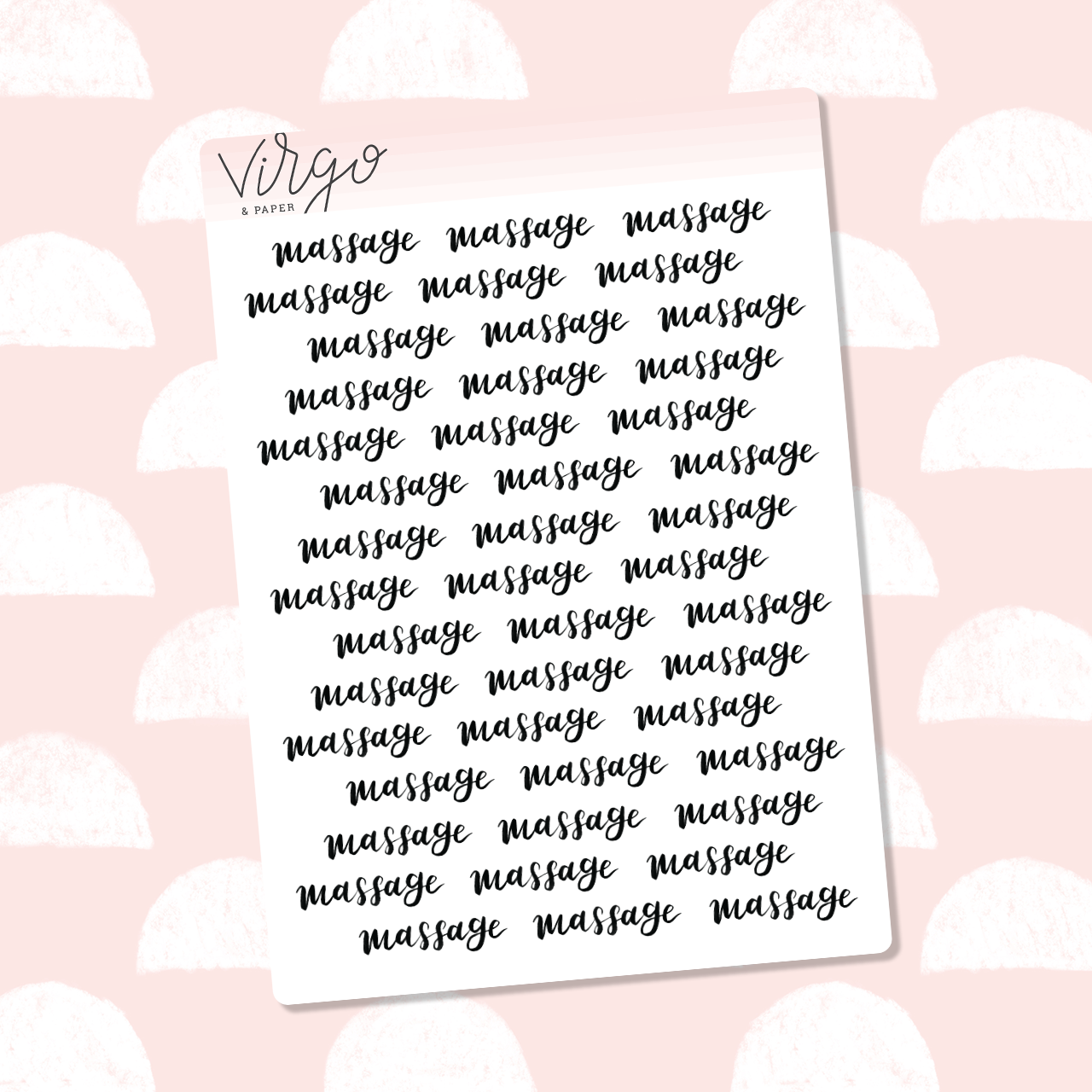 Massage Hand Lettered Label Planner Stickers