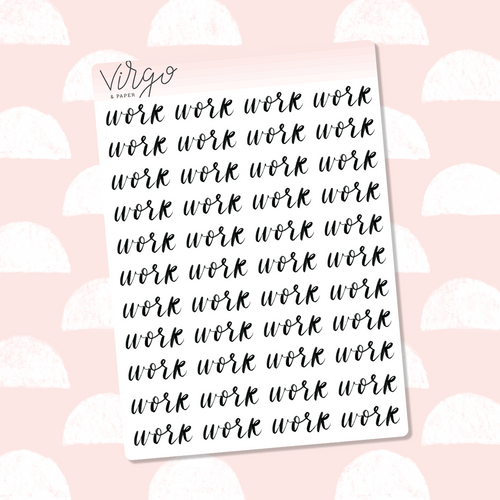 Work Hand Lettered Label Planner Stickers