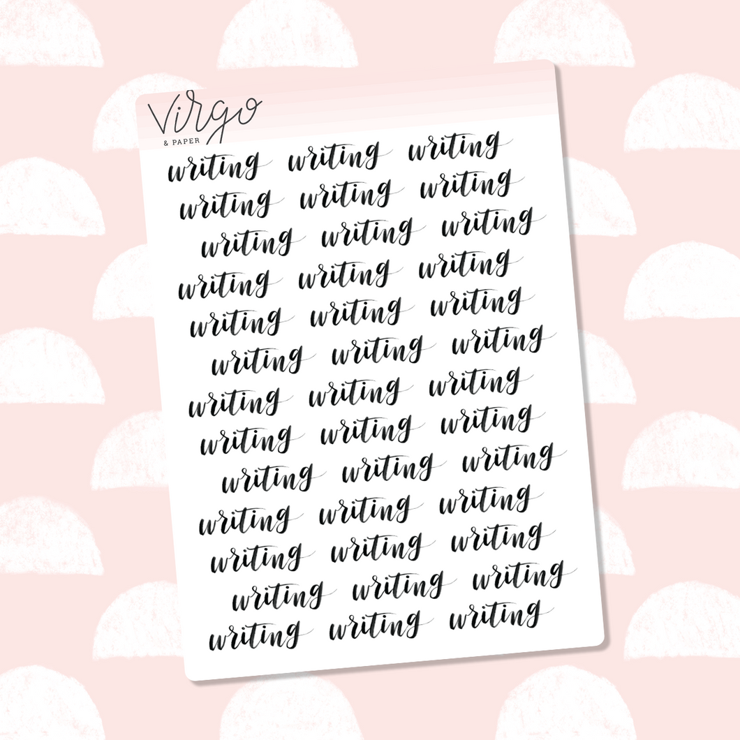 Writing Hand Lettered Label Planner Stickers