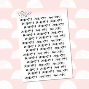 Messages Hand Lettered Label Planner Stickers