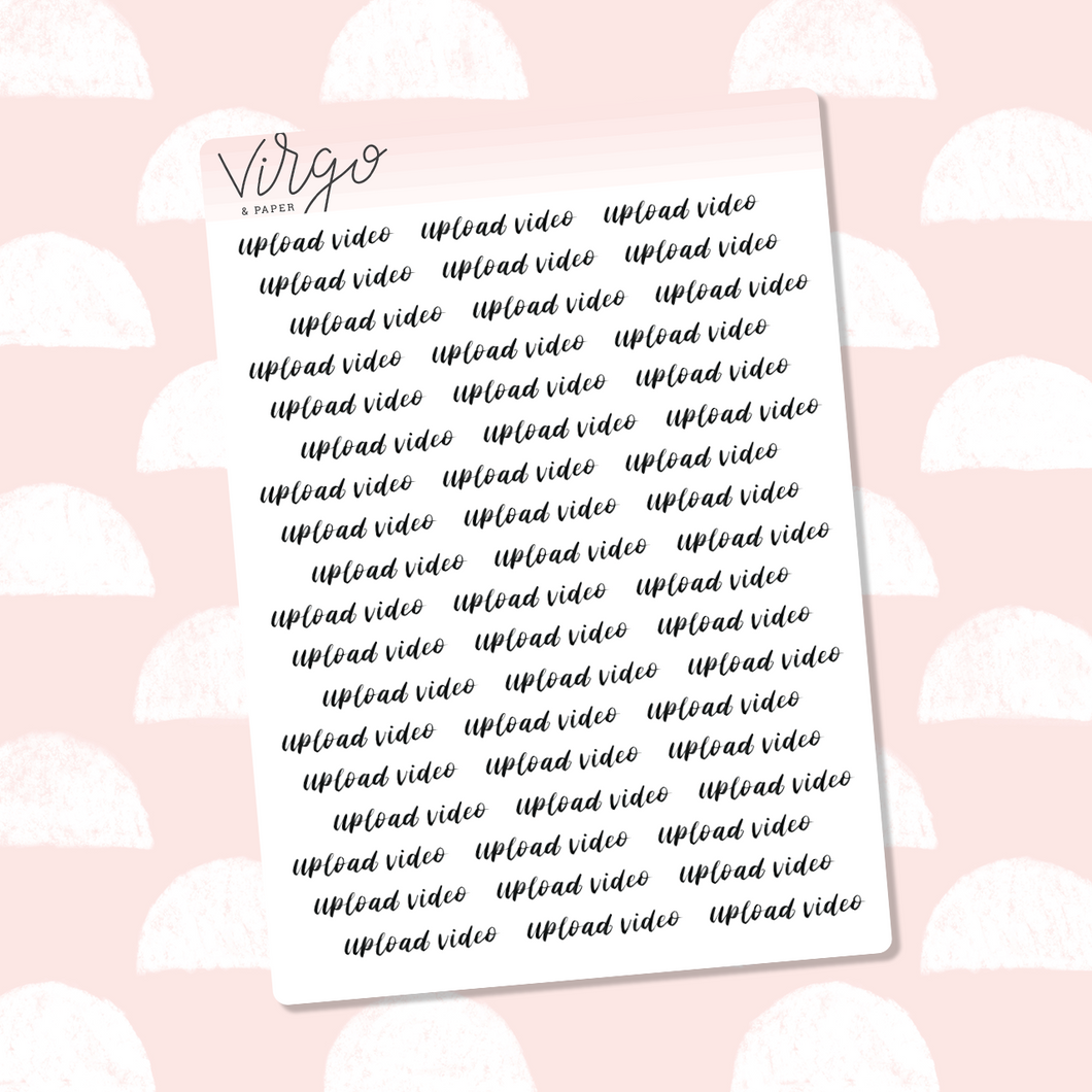 Upload Video Hand Lettered Label Planner Stickers