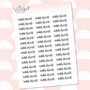 Wash Sheets Hand Lettered Label Planner Stickers