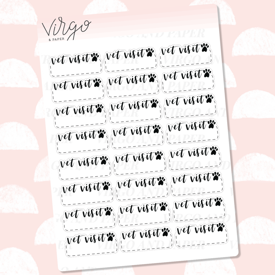 Vet Visit / Vet Appointment Hand Lettered Label Planner Stickers