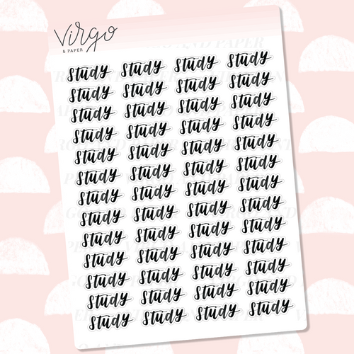 Study Hand Lettered Label Planner Stickers