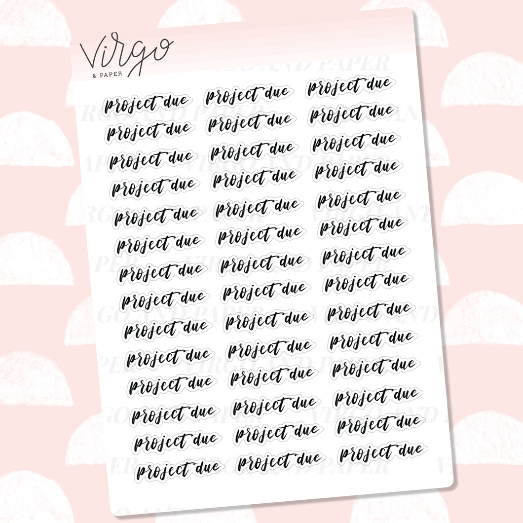 Project Due Hand Lettered Label Planner Stickers