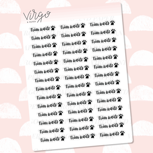 Trim Dog Nails Hand Lettered Label Planner Stickers