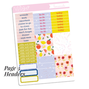 Lemonade Weekly Hand Drawn Planner Sticker Kit
