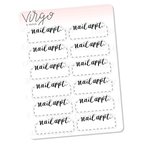 Nail Appointment Hand Lettered Script Stickers