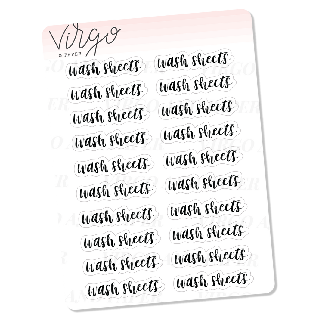 Wash Sheets Hand Lettered Script Stickers