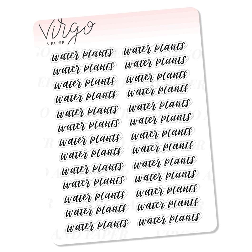 Water Plants Hand Lettered Script Stickers
