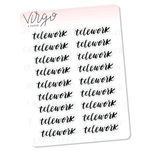 Telework Hand Lettered Script Stickers