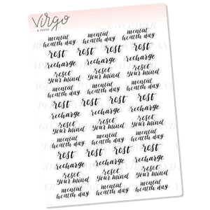 Self Care Variety Hand Lettered Planner Stickers