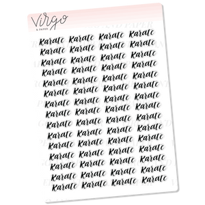 Karate Hand Lettered Planner Stickers