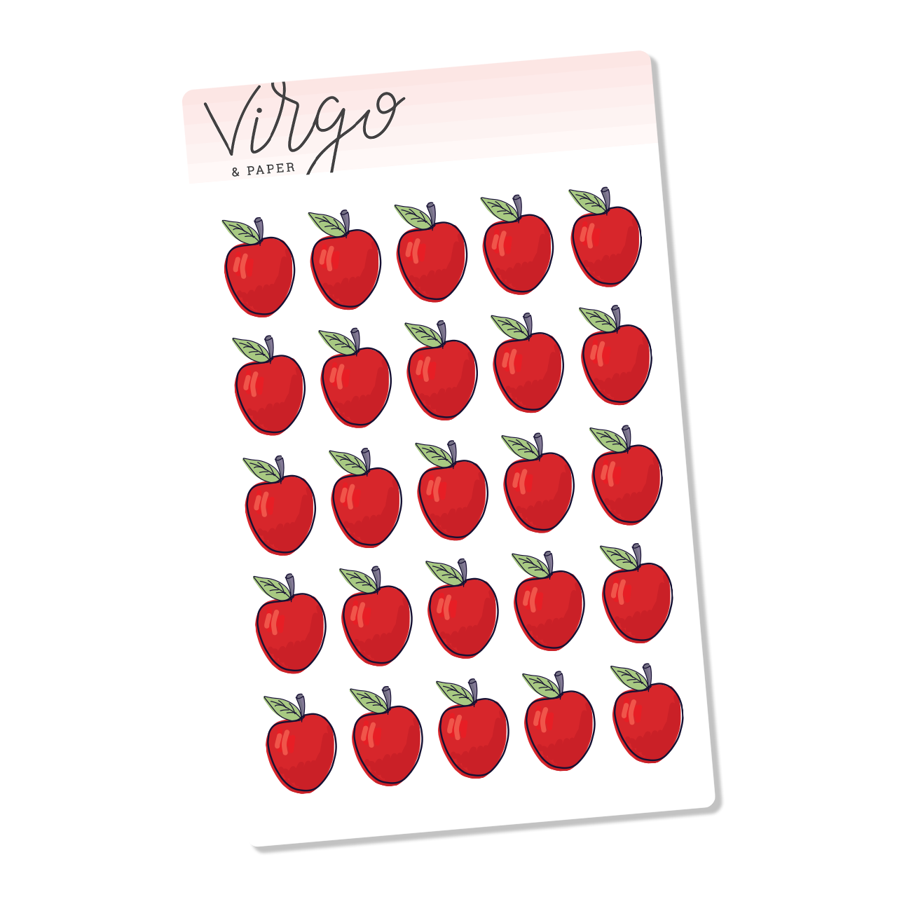 Mini Red Apple Hand Drawn Planner Stickers