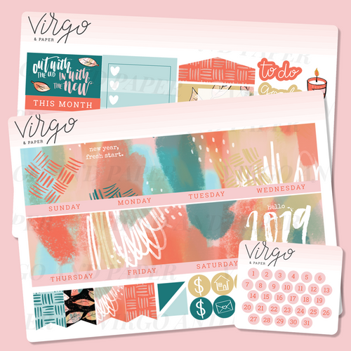 Fresh Start 2019 Monthly Planner Sticker Kit