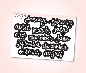 Jan-Dec Months of the Year Labels in Black