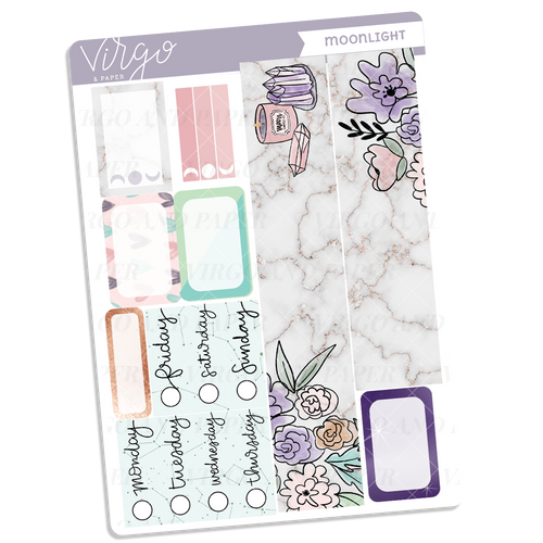 Moonlight Washi + Date Covers Sticker Sheet