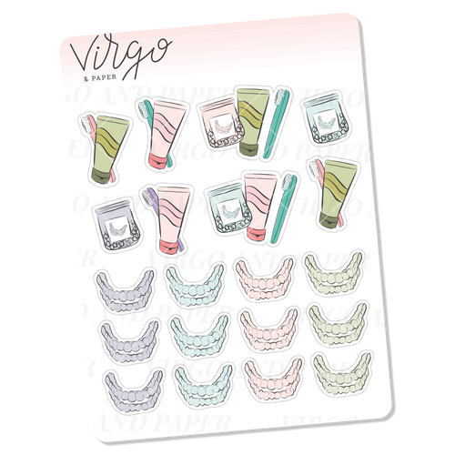 Transparent Braces/Retainers Pastel Doodles Mini Sticker Sheet