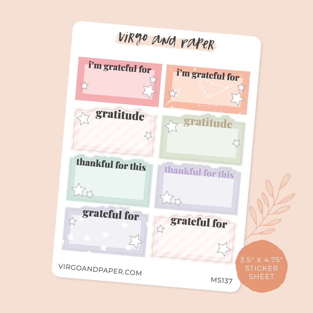 Daily Gratitude Box Planner Stickers
