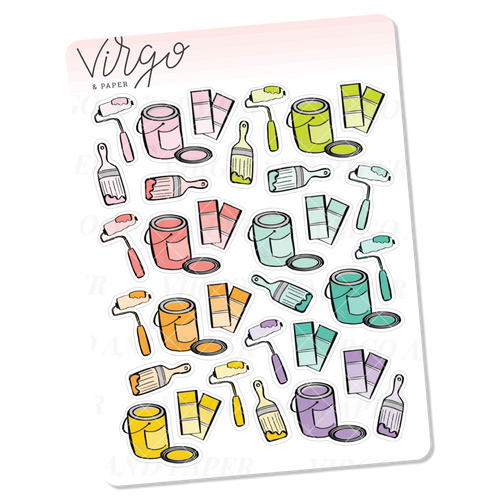 House Painting Doodles Mini Sheet of Planner Stickers