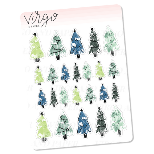 Snowy Trees Mini Sheet of Planner Stickers
