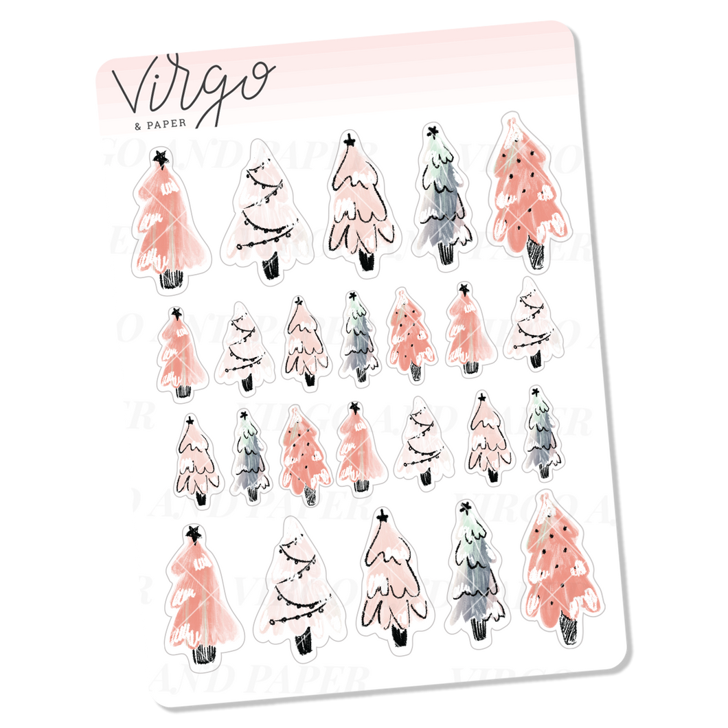 Pink Snowy Trees Mini Sheet of Planner Stickers