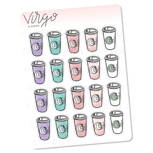 Pastel Coffee Cup Doodles Mini Sheet