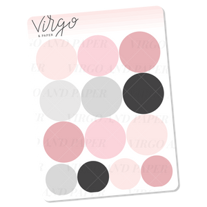 Pink Dot Stickers - Mini Sheet of Planner Stickers