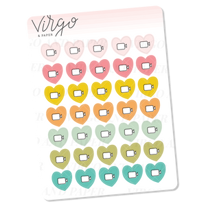 Video Call/ Filming Heart Icons Mini Sticker Sheet