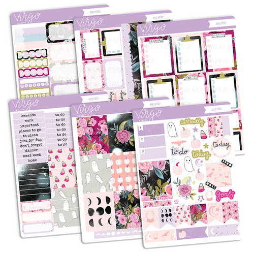 Mystic Weekly Halloween Floral Planner Sticker Kit