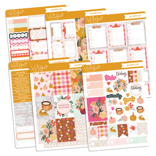 Pumpkin Pie Hand Drawn Fall Planner Sticker Kit
