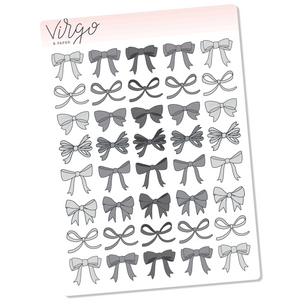 Neutral Bows Hand Drawn Planner Stickers