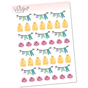 Laundry Doodles Hand Drawn Planner Stickers