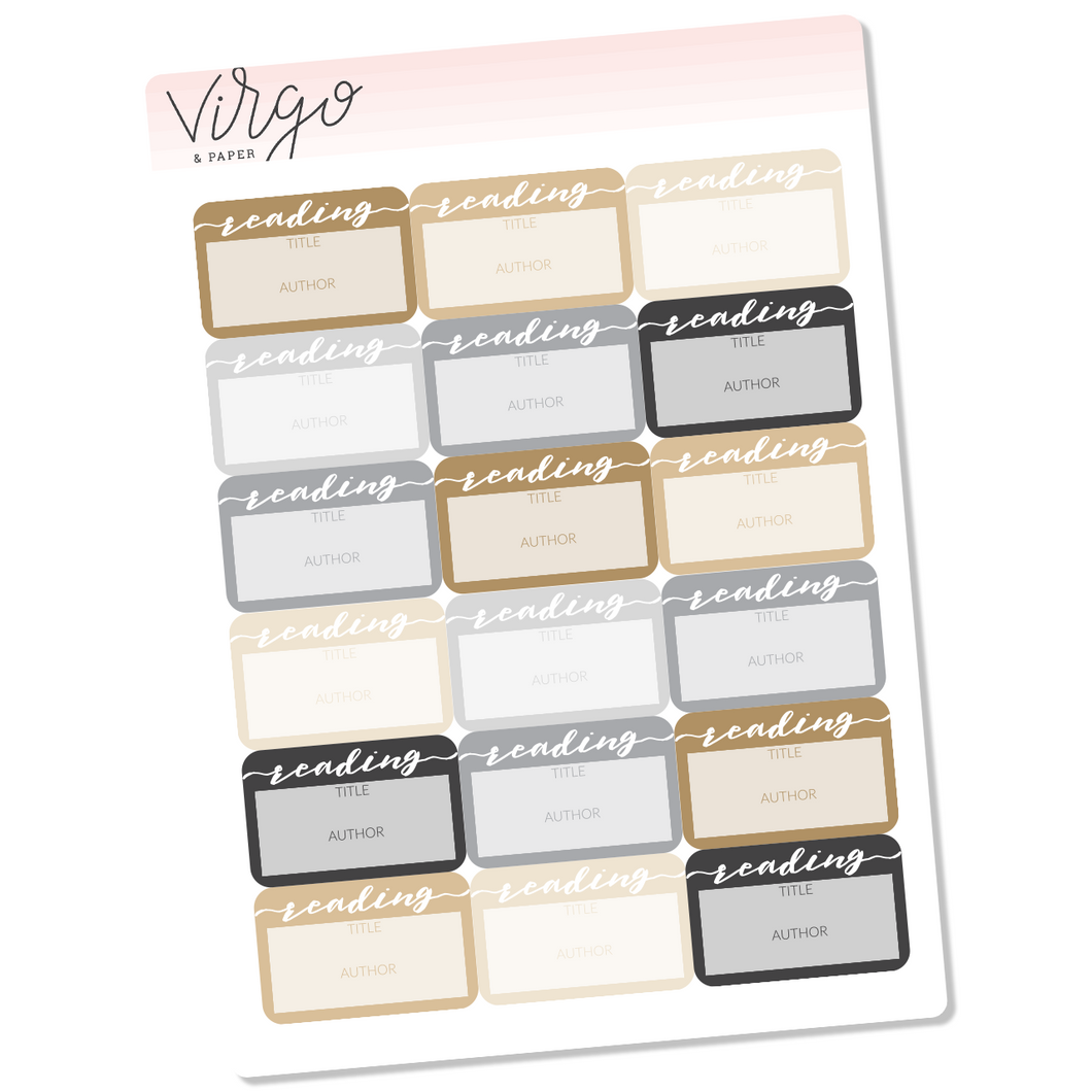 Reading Label Planner Stickers - Neutral Multicolor