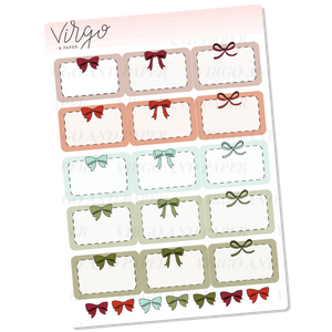 Red & Green Bow Event Box Planner Stickers