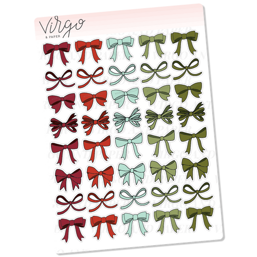Red & Green Bows Hand Drawn Planner Stickers