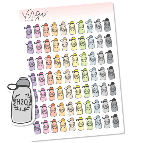 Water Bottle Multicolor Hand Drawn Planner Stickers