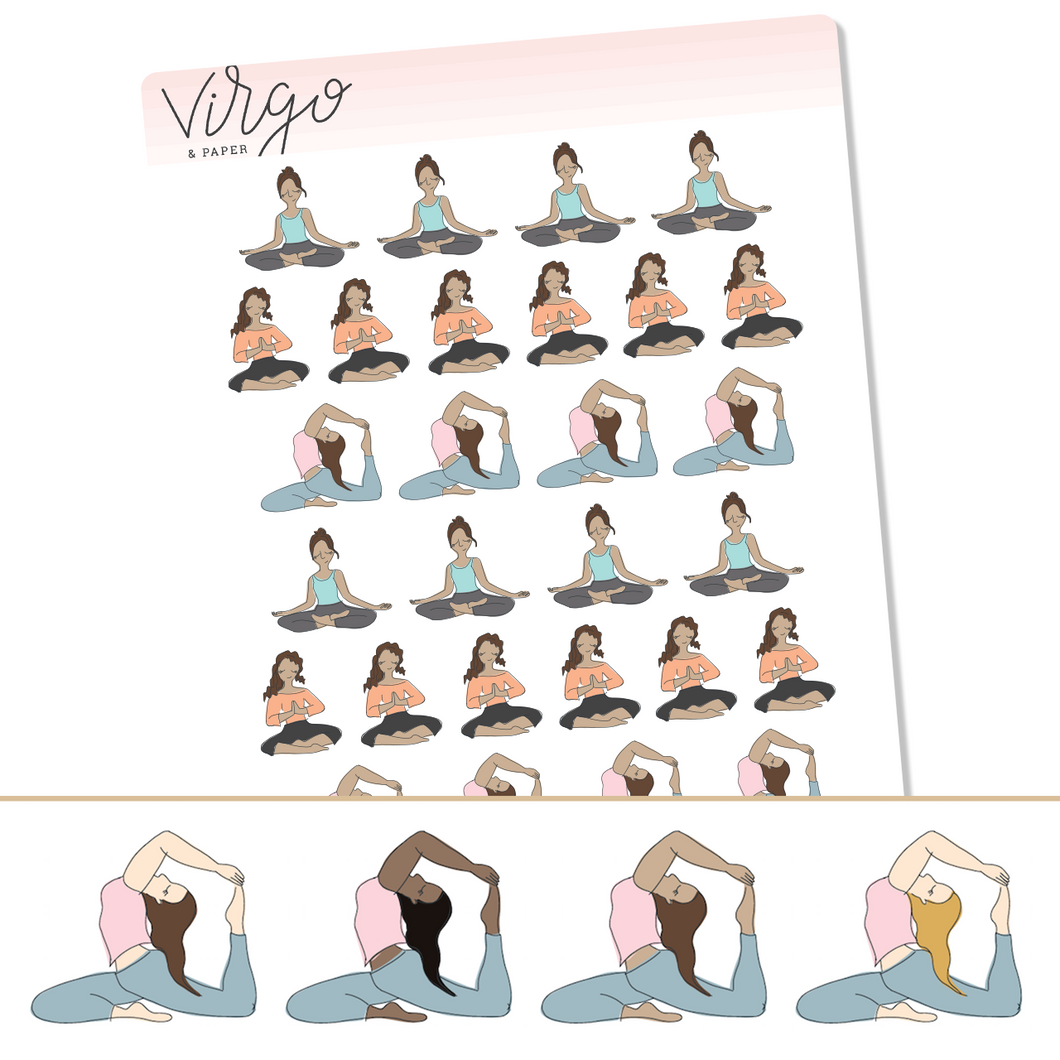 Yoga Girl Planner Stickers - Choose Your Skin/Hair Color