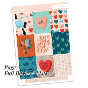 Self Love Weekly Planner Sticker Kit - Hand Drawn Art