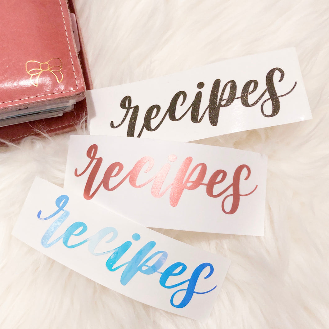 Recipes Hand Lettered Vinyl Decal