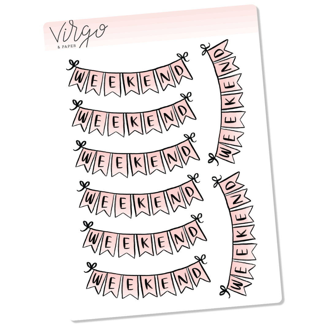 Pink Weekend Banner Hand Drawn Planner Stickers