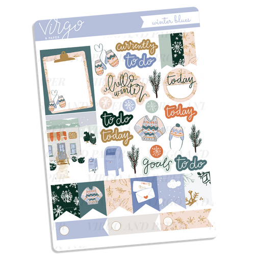 Winter Blues Decorative Sticker Sheet
