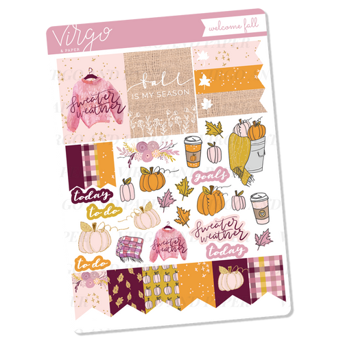 Welcome Fall Decorative Sticker Sheet