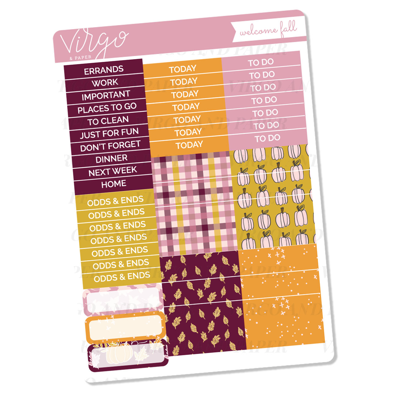 Welcome Fall Headers + Washi Sticker Sheet