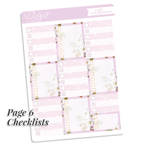 Wildflower Weekly Hand Drawn Floral Planner Sticker Kit